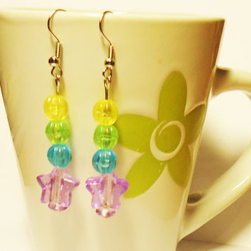 EARRINGS  Rainbow Space  Stars by FrozenNote on Etsy