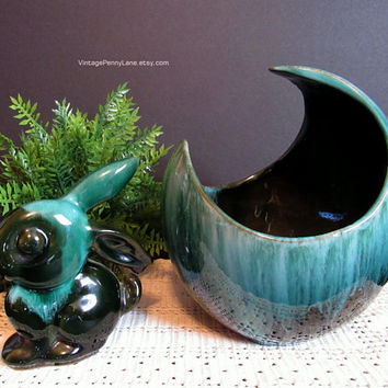 Vintage Blue Mountain Pottery Lot, Planter Vase and Bunny Rabbit, Blue / Green Drip Glaze