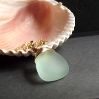 Aqua Drop Necklace:  24K Gold Wire Wrapped Mint Green Sea Glass Pendant Long Beach Necklace, Summer Ocean Nautical Contemporary Jewelry