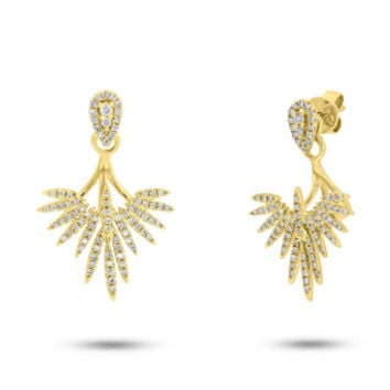 0.44ct 14k Yellow Gold Diamond Ear Jacket Earring with Studs