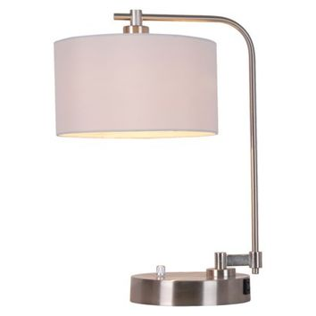 Threshold™ Silver Downbridge Table Lamp with White Shade