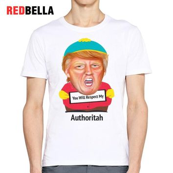 REDBELLA Men T Shirt USA Funny President Donald Trump Pop Culture Political Parody Character 100% Cotton O Neck Ulzzang Clothing