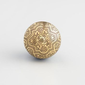 Blue Resin and Etched Brass Knobs Set of 2
