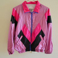 Pink Purple Black Windbreaker Jacket Vintage 90s Oversized Large