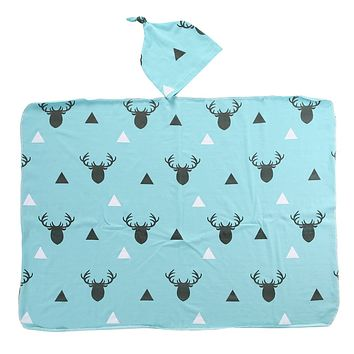 2Pcs/Set Newborn Infant Baby Boy Deer Swaddle Blanket +Hat Boy Coming Home Cotton Bath Towel