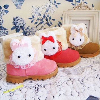 Baby Girls Toddler Winter Fur Shoes Zip Snow Boots Rabbit US Size 6-15 Infant = 1932648644