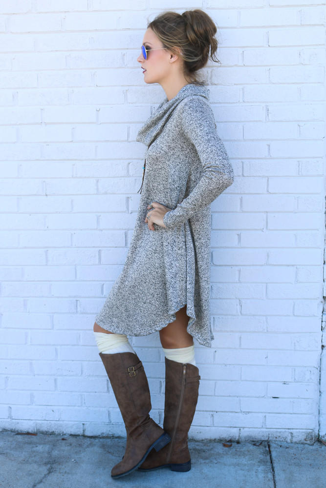 Lunar Love Mocha Cowl Neck Sweater Dress from Amazing Lace 45f0f6976