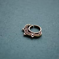 Lotus septum ring for pierced nose / 14g / Ethnic septum / Septum jewelry / Nose jewelry / Tribal body jewelry / Belly dance jewelry