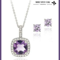 """2.85 Carat T.G.W. Amethyst and Diamond Accent Sterling Silver Square Necklace and Earrings Set """" FREE SHIPPING """""""