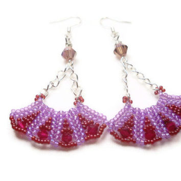 Beadwoven Earrings Fan Purple Haze Earrings