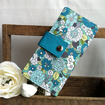 Womens handmade bifold wallet in blues and aqua flowers with credit card slots, bill slots, coin pouch