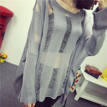 Hollow ragged sexy fishnet long sleeve sweater