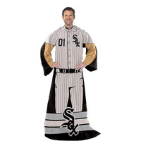 Chicago White Sox MLB Adult Uniform Comfy Throw Blanket w- Sleeves