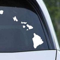 Hawaii Map of Islands Die Cut Vinyl Decal Sticker