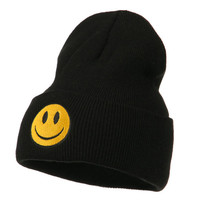 Smiley Face Embroidered Long Beanie