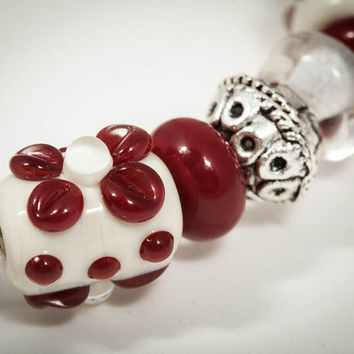 Lampwork Christmas Bracelet in Holiday Colors, Christmas Gift