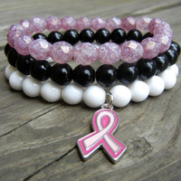 Beaded Stretch Charm Bracelet Stackable with Black White or Pink Beads and Silver Pink Ribbon Charm for Breast Cancer Awareness October