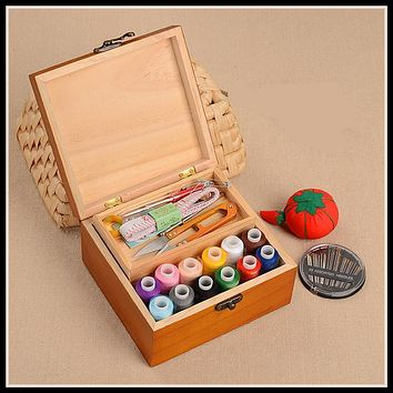 Wood Box Sewing Kit Needle Tape Scissor Multifunction Threads Sewing Accessories Tools Wooden Storage Box