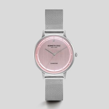 Silver-Tone Pink Mesh Watch