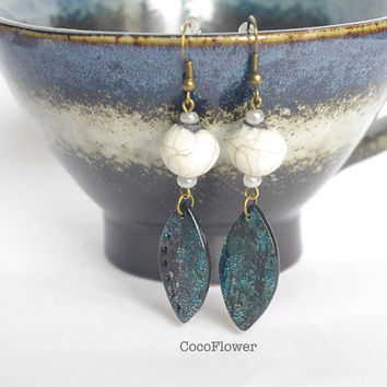Wedding White Ceramic Bead Night blue polymer clay pendant earrings dangle artisan chic jewelry