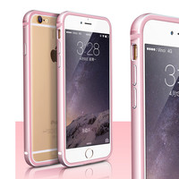 ELFTEAR Aluminum Metal Bumper Frame phone Case for iphone 6 6s 7 7 plus Cover Ultra-thin Slim Hard Bumper Case Cover With Button