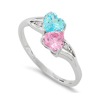 Sterling Silver Blue & Pink Cz Double Heart Ring