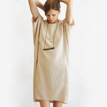Beige Tunic Summer Shift Dress Loose Fit Sundress