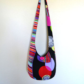 Circles and Stripes Hobo Bag, Sling Bag, Geometric, Bright, Colorful, Hippie Purse, Cross Body Bag