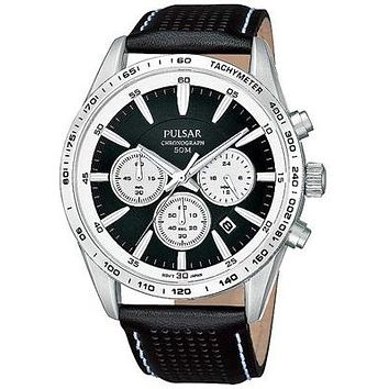 Pulsar Chronograph Mens Strap Watch - Black Dial and Steel Case - Date - 50M WR