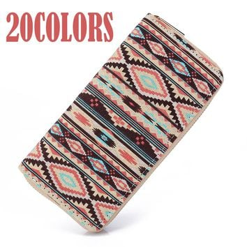 Sansarya 10 Colors Bohemia Woven Boho Long Women Wallet Aztec Female Purse Ladies Tribal Card Holder Girls With Cupreous Zipper