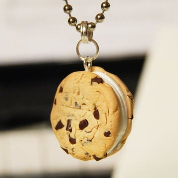 Cookie Ice Cream Sandwich Charm - Polymer Clay Charm - Chocolate Chip Cookie - Miniature Food Jewelry - Kawaii Polymer Clay - Cute Charm