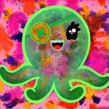 Octopus Illustration, Cute, Quirky, Unique, Original art, pink and green, Underwater, ocean, Kawaii, Kitsch, Vibrant, Kids room, Big eyes