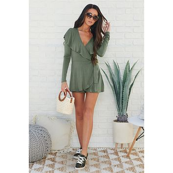 Best Of Both Worlds Ruffle Romper (Olive)