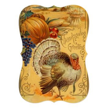 Vintage Thanksgiving Turkey Bounty Dinner Invite