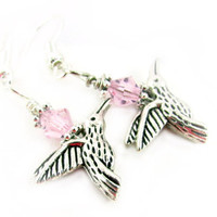 Hummingbird Earrings, Dangle Hummingbird Earrings, Pink Earrings, Pink Crystal Earrings, Bird Earrings