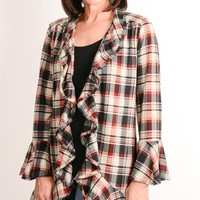 Burgundy Plaid Ruffle Cardigan