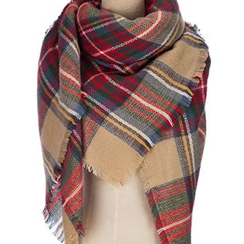 Winter All-match Warm Plaid Blanket Best Gift Scarf Oversized Shawl Cape
