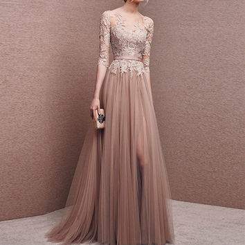 Elegant Long Prom Dresses 2017 A Line Half Sleeves Appliques Lace Tulle Backless Floor Length Formal Party Dresses Evening Gown