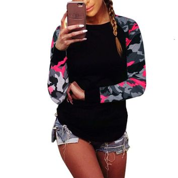 S-5XL Plus Size Women Tops 2018 Spring Camo Print O-Neck T-Shirt Women Casual Fashion Long Sleeve Loose Female Clothing T-Shirts