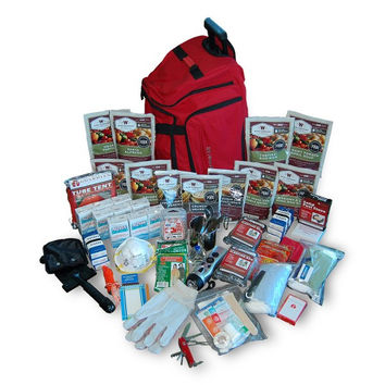 2 Week Deluxe Emergency Survival First Aid Bag Kit with Food & Water for 1 Person (Red)