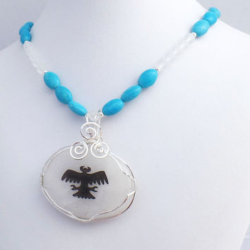 Turquoise Thunderbird Rock Cystal Pendent Necklace, Spirit Animal Totem, Beaded Statement Necklace, Mystical Creatures, Mythical Animals