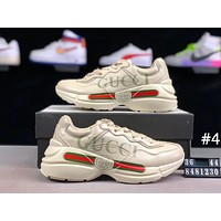 GUCCI Tide brand casual sports men and women models thick bottom increased retro old shoes #4