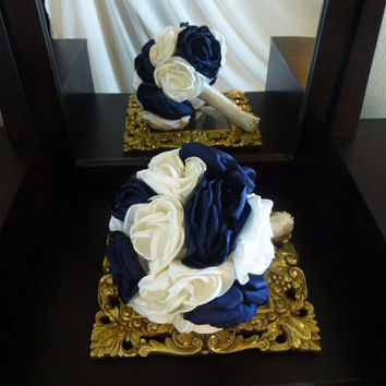 Fabric Flower Bouquet, Bridal Bouquet, Bridesmaid Bouquet, Wedding Flowers, ivory, navy blue, custom colors, pearl beading
