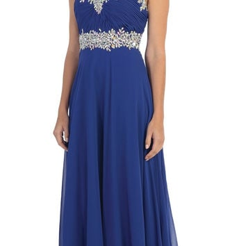 Starbox USA L6079 Jeweled Ruched Bodice Royal Blue Strapless Chiffon A-Line Dress