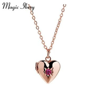 Magic Ikery Rhinestones Box Photo Frame Locket Pendant Necklace Fashion Heart Jewelry For Women Love Gift YT-N331