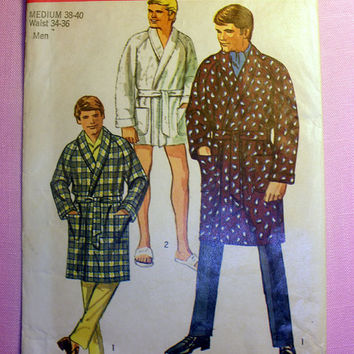 Mens' Robe Size Medium 38 - 40 Waist 34 - 36 Vintage Simplicity 8470 Sewing Pattern Uncut Circa 1960's