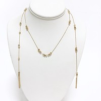 Opal Granite Bead Gold Necklace