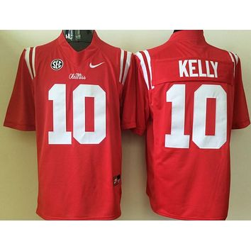 Ole Miss Rebels KELLY #10 College Ice Hockey Jerseys Size M,L,XL,XXL,3XL
