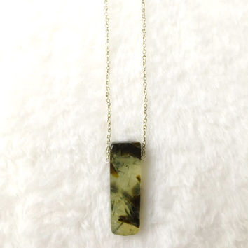 Raw Stone Necklace, Raw Crystal Necklace, Prehnite, Green Gemstone Necklace, Raw Gemstone Necklace, Boho, Bohemian, Silver, Healing Necklace
