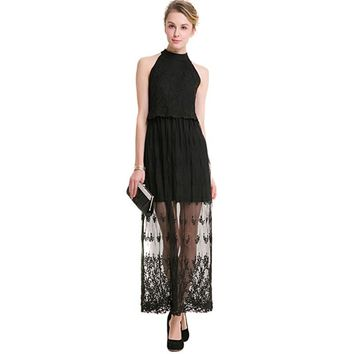 Black Sexy Long Dress Ankle-Length Solid Halter Dress Party Club Hollow Out Lace Dress